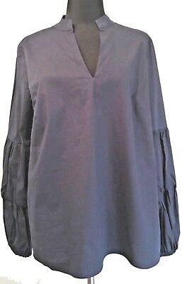 Jane and Delancey Womens Pleated Bell Sleeve Blue Shirt Top Blouse Size Small
