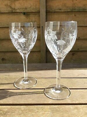 Pair Of Stuart Crystal 'cascade' Claret Glasses