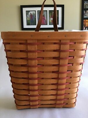 Longaberger Tall Key With Red Weaving Feature Basket