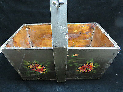 Vintage Large Chinese Hand Painted Knitting/Sewing/Mag Basket