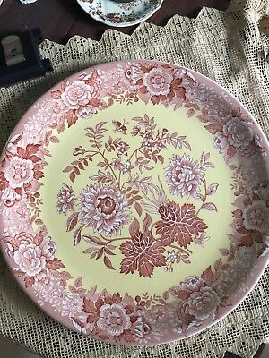 """Spode Archive Collection JASMINE 13"""" Chop Plate EUC Pink Red Yellow Transferware"""