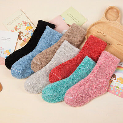 5 Pairs Girls Boys Kids Child Wool Cashmere Solid Thicken Warm Terry Socks 0-7Y