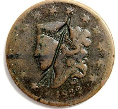 1832  BRAIDED HAIR, LARGE CENT, FINE+ CONDITION, ARROW STAMP on FACE  UNGRADED