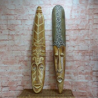 """X2 Wooden African Tribal Carved Face Mask 40"""" inches in Height Used Condition"""