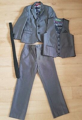 Next Boys Grey Suit Jacket, Waistcoat, Trousers and Tie. Age 8.