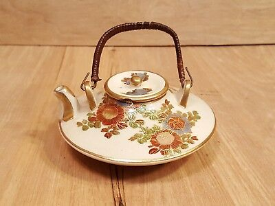 Antique SATSUMA SAKE Miniature Tea POT ~ Floral DESIGN w/ Bamboo Handle