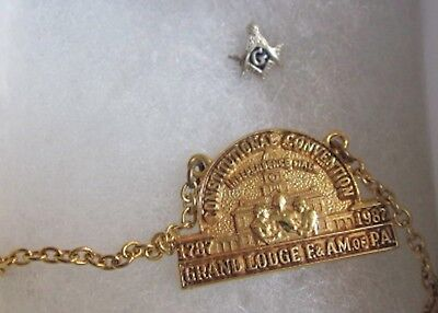 MASONIC 14kt GOLD LAPEL PIN & RT. W. GRAND MASTER JEWEL 1986 / 87 CONSTITUTIONAL