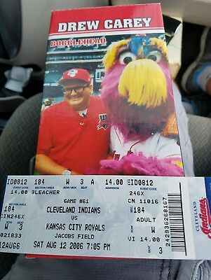 Cleveland Indians Drew Carey Bobblehead 2006 New with Original Box & ticket