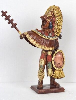 Antique Vintage Mexican Mexico Mayan Aztec Native Indian Resin Statue 16""
