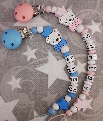 Personalised Dummy Clip💕 Wooden 🐻 Dummy Chain Girl 💕 Boy 💕 Pink/Blue Bear