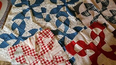 Vintage Quilt Block Lot Of 7-Hand Sewn- Vintage Reds&Blues!