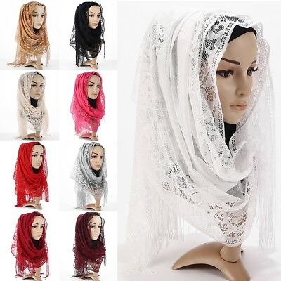 New Women Fashion Lace Long Scarf Muslim Hijab Arab Wrap Shawl Headwear Lot