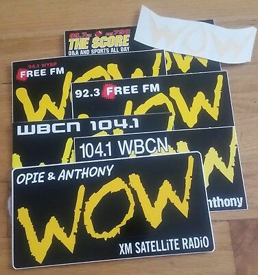 Opie & Anthony WOW Sticker Collection, Lot of 44, XM, WYSP, WBCN, The Score, WOW