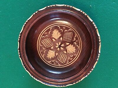 """Decorative Wooden Bowl/ Made, Stamped, And Sold In Croatia/ 7"""" Wide/ 1 3/4"""" High"""