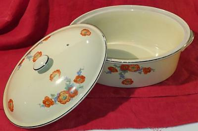 "Vintage 6""x12"" Orange Poppy Lidded Casserole ~ Serving Dish Hall's EXC"
