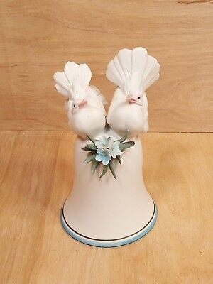 Vintage GOEBEL BELL w/ Pair of DOVE BIRD Figures on Top ~ White Porcelain Bisque