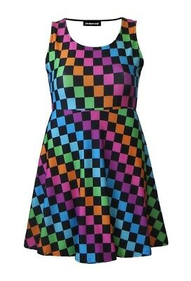 Girls Check Squares Checkerboard Checker Skater Dress Size 5 -10 Years Funky