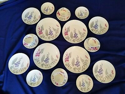 20 PC. CASTLETON China Wisteria Floral China Dinnerware - Mint - & pads