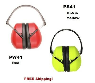 Portwest PW41 & PS41 Super Ear Protector Ear Muff Red or Hi-Vis Yellow