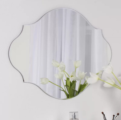 Elegant Glass Frameless Oval Beveled Wall Mirror Large Decorative Bathroom  Decor