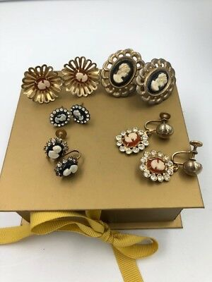 Lot Of 5 Pair Of Vintage Costume Cameo Earrings