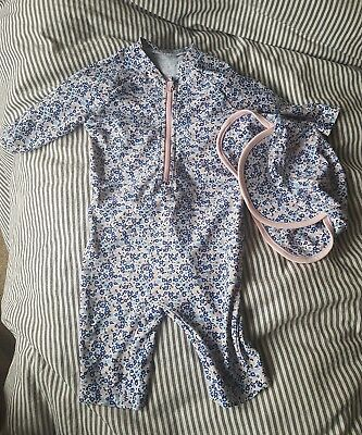 M&S 12-18 Months Baby Girl Sunsuit Swimsuit With Matching Hat Blue Pink Floral