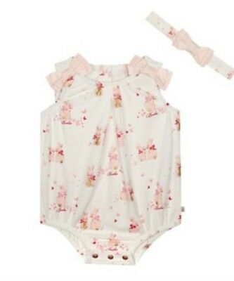 Ted Baker Baby girls' pink bunny print romper suit with a headband BNWT 3-6 Mths