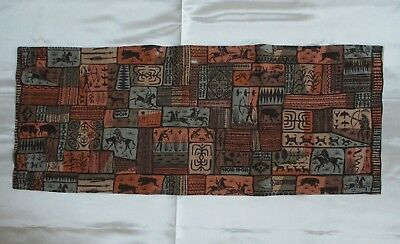 "Vintage Harwood Steiger ""Out West"" Fabric Table Runner Damage Edge 40"" x 16"""