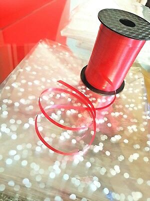 1 OR 2 MTR White Dot Cellophane wrap+FREE curling Ribbon gift-hamper-END OF ROLL