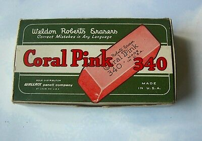 """Vintage Box of 9 Weldon Roberts Pink Erasers """"Correct Mistakes in Any Language"""""""
