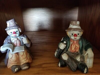 2 Two darling clown figurines music boxes, gorgeous paint job. Collectible clown