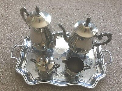 Antique Silver Plated  tea  / coffee set & c/p tray