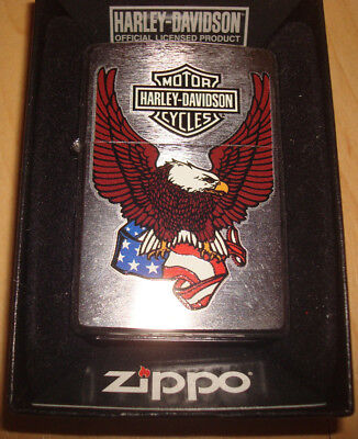 Harley-Davidson-Eagle-With-Usa-Flag-24955-Zippo-Lighter-Mint-In-Box     Harley-D