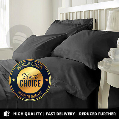 Luxury 400 Count 100% BLACK Egyptian Cotton Bedding, Fitted, Flat, Duvet Cover