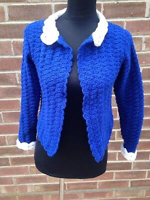 Vintage 1960s Crochet Suit Jacket Blue With White Collar And Cuffs