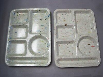 2 Vintage Texas Ware Picnic Food Trays Splatter Confetti Design Beautiful & VGC