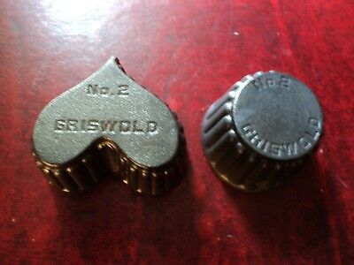 antique griswold cast iron #2 patty mold two lot heart & muffin shaped