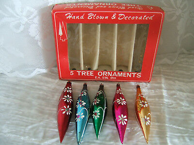 Vintage Hand Painted Teardrop Glass Ornaments