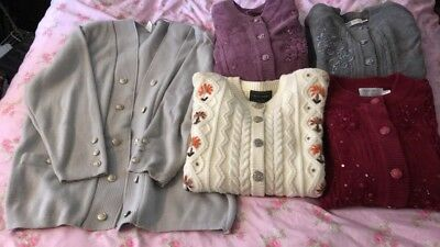 Job Lot Of 5 Ladies Cardigans - Approx Size 14