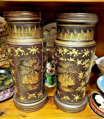 Pair Antique Chinese Lacquer on Wood Vases 19th Century