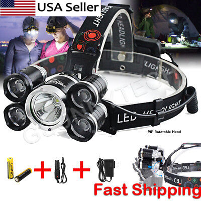80000LM 5 Head XM-L T6 LED 18650 Headlamp Headlight Flashlight Head Torch Light
