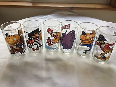 McDonalds 1977 Complete Set Of 6 McDonaldland Action Series Glasses