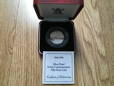1944 - 1994 UK Fifty Pence Silver Proof Coin D Day Commemorative Box/COA
