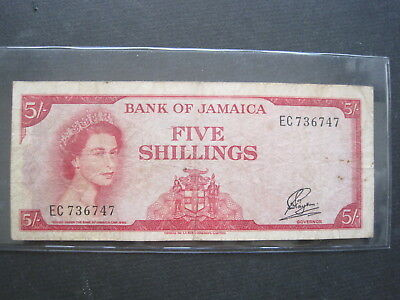 Jamaica 5 Shillings 1960 P51 #l British Queen Currency Banknote Paper Money