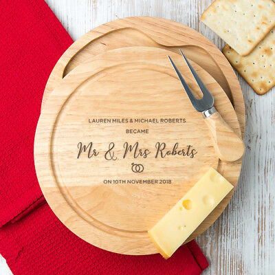 Personalised Wedding Gift Wooden Engraved Cheese Board with Knives Set couples