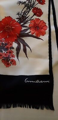 "vintage emilioui scarf red carnations 58"" x 11.5"" feels like very fine wool"