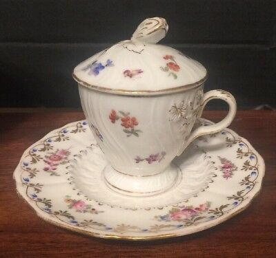 Antique Coalport Covered Cup & Saucer Hand Painted 1891 -1920 Rose Finial