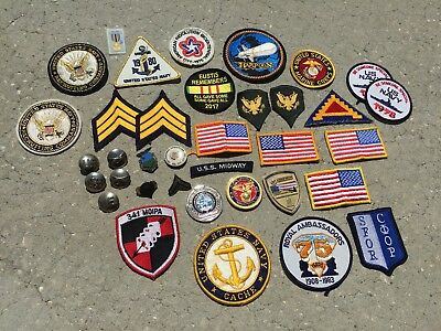 WWII - 1980s Military Patches Challenge Coins Insignia Pins Lot Vietnam Korea