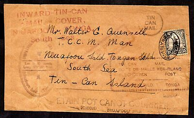 Tonga - 1930 Inward Tin Can Canoe Mail with Numerous Nice Cachets Front & Back