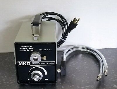Nikon Stereo Microscope MKII Fiber Optic Light Illuminator with Gooseneck Cables
